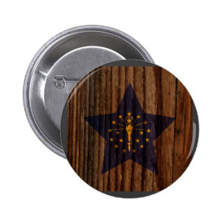 Indiana Flag Star on Wood theme 6 Cm Round Badge
