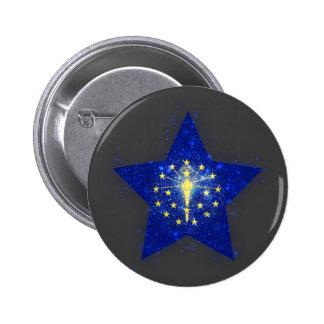 Indiana Flag Star Shining 6 Cm Round Badge