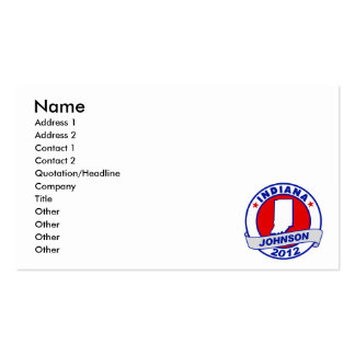 Indiana Gary Johnson Business Card Templates