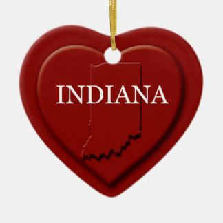Indiana Heart Map Christmas Ornament
