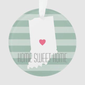 Indiana Home State Love with Custom Heart Ornament