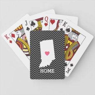 Indiana Home State Love with Custom Heart Playing Cards