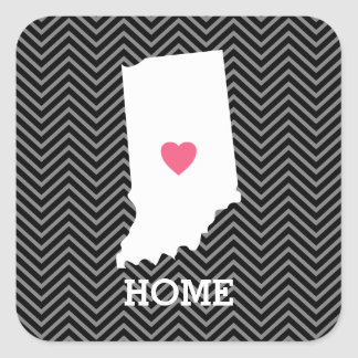 Indiana Home State Love with Custom Heart Square Sticker