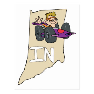 Indiana IN Map with funny Indy Race Car Cartoon Postcard