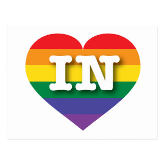 Indiana IN rainbow pride heart Postcard