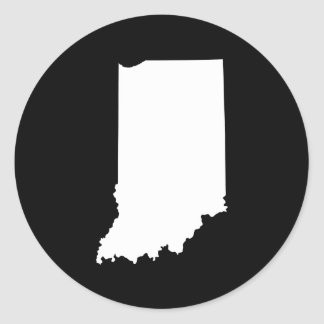Indiana in White and Black Classic Round Sticker