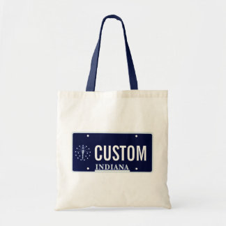 Indiana license plate tote bag