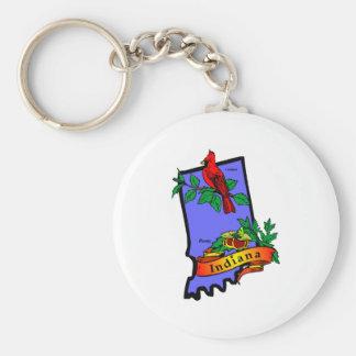 Indiana Map 2 Basic Round Button Key Ring