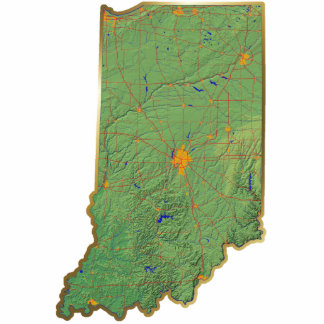 Indiana Map Keychain Cut Out