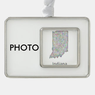 Indiana map silver plated framed ornament