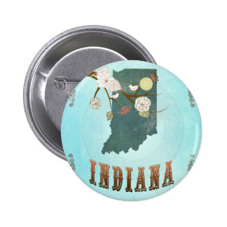 Indiana Map With Lovely Birds 6 Cm Round Badge