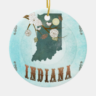 Indiana Map With Lovely Birds Christmas Ornament