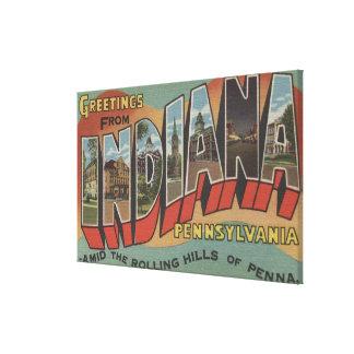Indiana, Pennsylvania - Large Letter Scenes Canvas Print