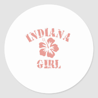 Indiana Pink Girl Classic Round Sticker