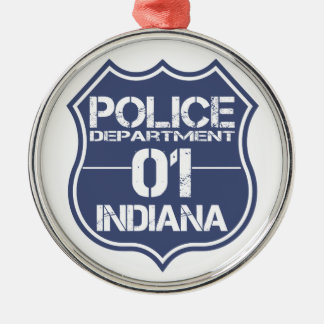 Indiana Police Department Shield 01 Silver-Colored Round Decoration