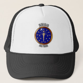 Indiana Proud Flag Button Trucker Hat