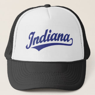 Indiana script logo in blue trucker hat