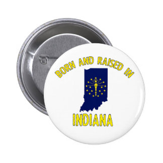 Indiana state flag and map designs 6 cm round badge