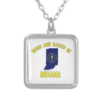Indiana state flag and map designs silver plated necklace
