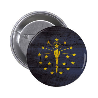 Indiana State Flag on Old Wood Grain 6 Cm Round Badge