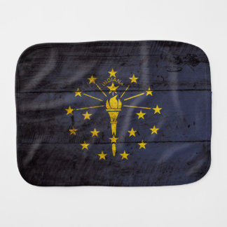 Indiana State Flag on Old Wood Grain Burp Cloth