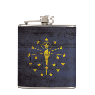 Indiana State Flag on Old Wood Grain Flasks