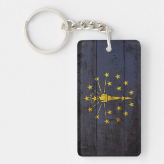 Indiana State Flag on Old Wood Grain Key Ring