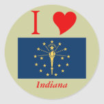 Indiana State Flag Round Stickers