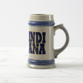 Indiana state flag text beer stein