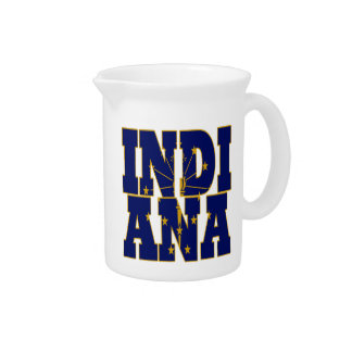 Indiana state flag text pitcher