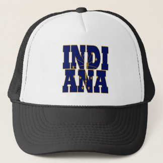 Indiana state flag text trucker hat