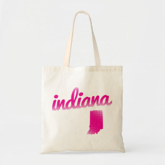 Indiana state in pink tote bag