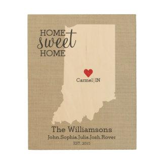 Indiana State Map Custom Family Name Established Wood Wall Decor