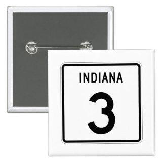Indiana State Road 3 15 Cm Square Badge