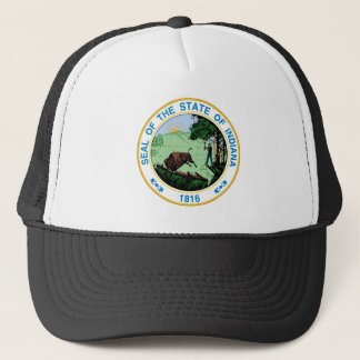 Indiana state seal america republic symbol flag trucker hat