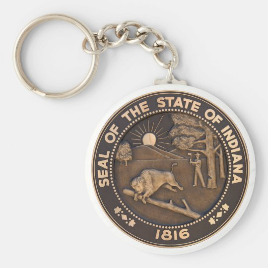 Indiana State Seal Basic Round Button Key Ring