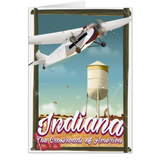 Indiana State vintage flight poster Card