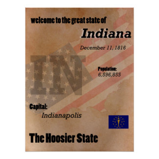 Indiana The Hoosier State Classic Poster