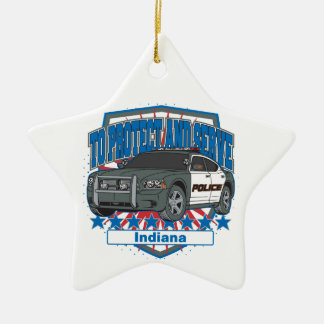 Indiana To Protect and Serve Police Squad Car Double-Sided Star Ceramic Christmas Ornament