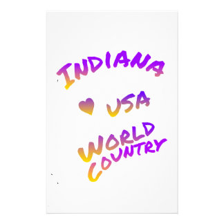 Indiana USA world country, colorful text art Stationery