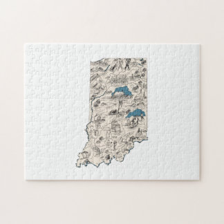 Indiana Vintage Picture Map Puzzle