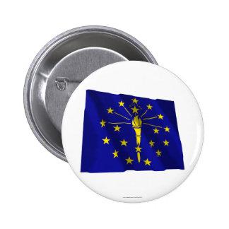 Indiana Waving Flag 6 Cm Round Badge