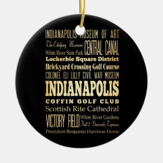 Indianapolis City of Indiana State Typography Art Christmas Ornament