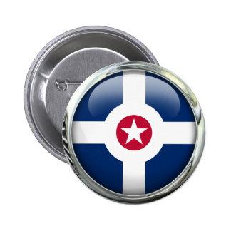 Indianapolis Flag Glass Ball 6 Cm Round Badge
