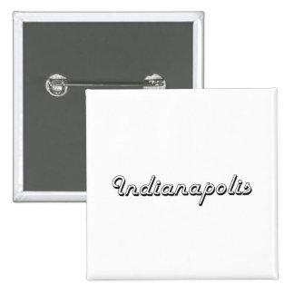 Indianapolis Indiana Classic Retro Design 15 Cm Square Badge