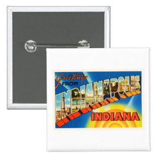 Indianapolis Indiana IN Vintage Travel Souvenir 15 Cm Square Badge