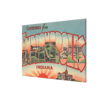 Indianapolis, Indiana - Large Letter Scenes 2 Canvas Print