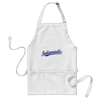 Indianapolis script logo in blue adult apron