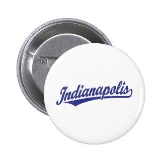 Indianapolis script logo in blue distressed 6 cm round badge