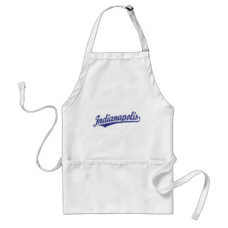 Indianapolis script logo in blue distressed standard apron